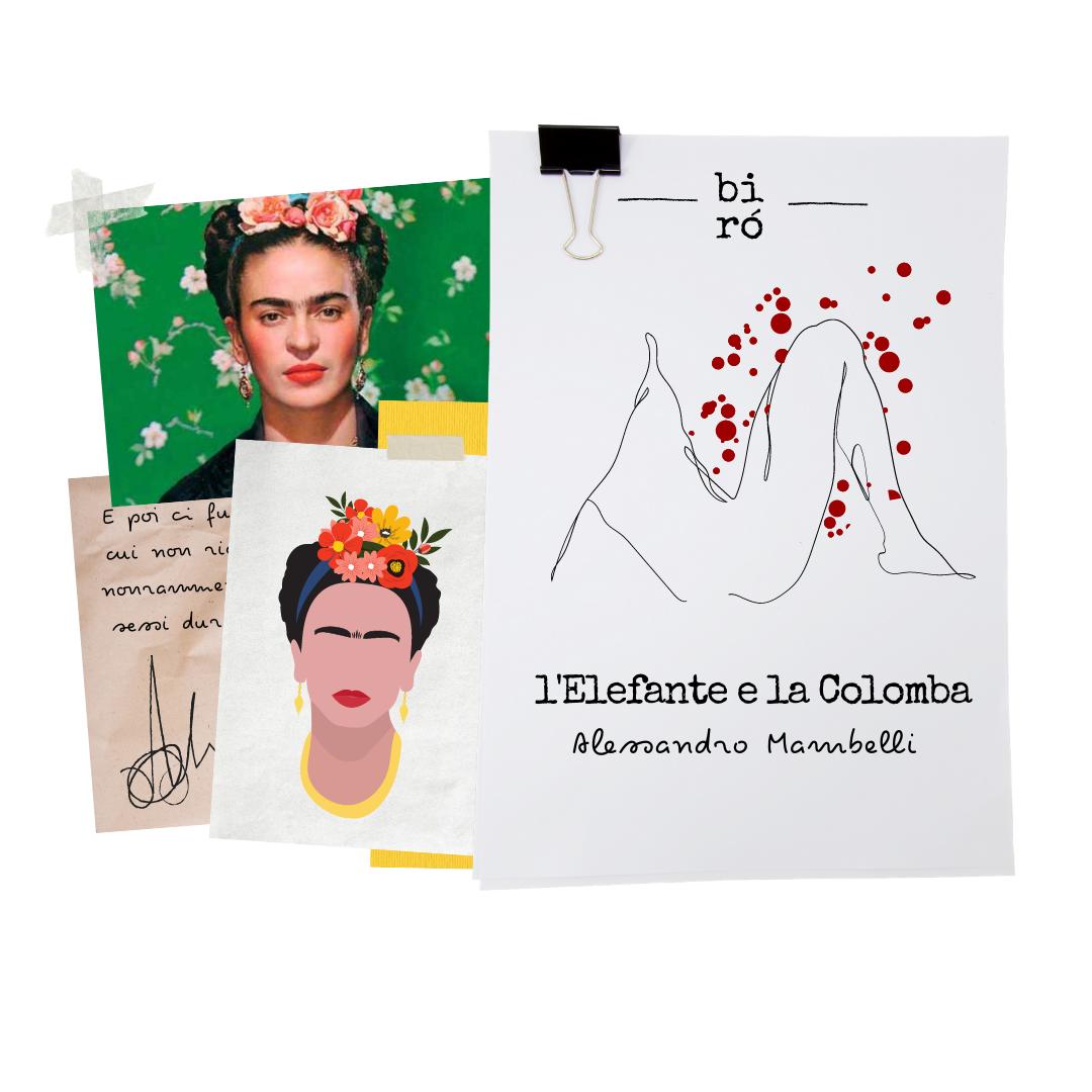 ritratto e fotografia frida Kahlo, immagine copertina racconto L'elefante e la Colomba