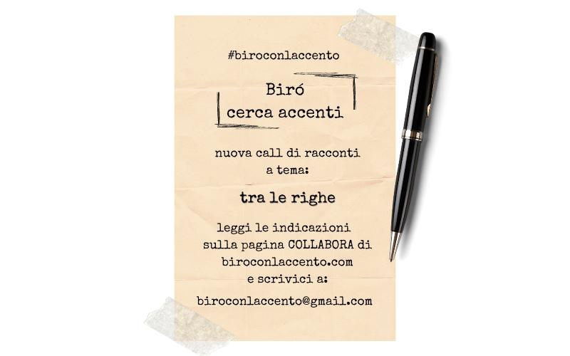 TESTO CHE INDICA IL TEMA DELLA CALL RACCONTI DI BIROCONLACCENTO.COM
